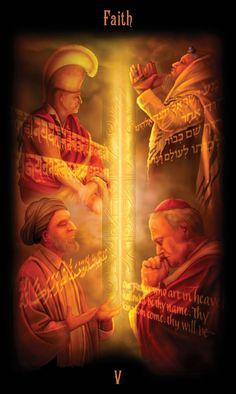"""O nome """"Hierofante"""" e tradicional no Tarot sob a forma de o papa cristão foi alterado p/ """"Faith"""" (FÉ) p/ ampliar a mensagem e abraçar outras religiões e crenças. Vemos 4 figuras, representantes das religiões + importantes do mundo, com suas variações rituais, costumes e orações sagradas em seus idiomas. Essas diferenças têm sido motivo de conflito, preconceito e guerra. Aqui em vez disso, tento demonstrar que, apesar dessas variações, a coluna central de luz, e a fonte comum da devoção de…"""