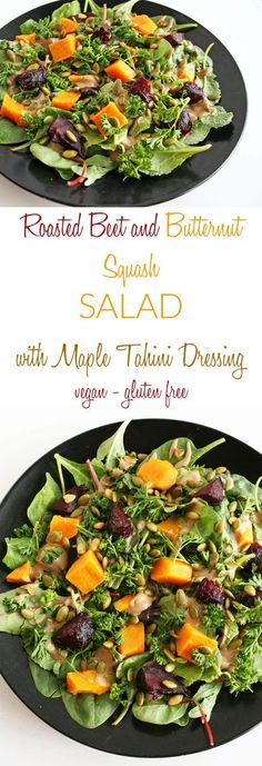Roasted Beet and Butternut Squash Salad with Maple Tahini Dressing (vegan, gluten free) - This unique sweet and savory salad is full of flavor.