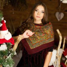 Bordeux Ukrainian shawl with oriental print by NatsCozyShop