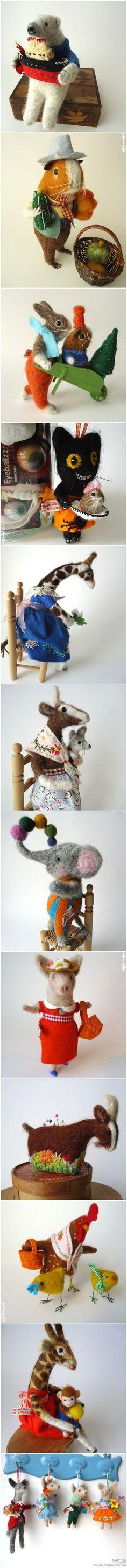 如果用像还是不像来评价,也许Miss Bumbles的这些羊毛毡小玩偶算不上优秀,但是它们的可爱以及富有生活气息的特质却是其他类似作品所不具备的。感谢@Cheerylan J J J J 的推荐!