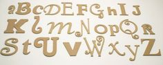 Curves Alphabet Set: More curly letters. Each letter is a different font and size. Perfect for decorating baby room.