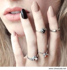 nude and black nails - Google Search
