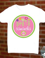 Flowers Birthday Shirt Personalized Kids T-shirt for Girls Green Pink | FUNKY MONKEY THREADS #FMT #funkymonkeythreads #flowerbirthday