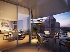 A room with a view: A typical terrace for a Foster + Partners home boasts a spectacular view for residents with pedestrianised shopping street Electric Boulevard below - A residential confection in concrete & glass.