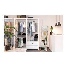 IKEA - ELVARLI, 2 Elemente, Diese offene Aufbewahrungskombination lässt sich nach Wunsch ergänzen oder verändern. Vielleicht gefällt sie dir so - wenn nicht, änderst du einfach nach Bedarf und Geschmack.Offene und geschlossene Verwahrung lässt sich nach Wunsch kombinieren - mit Böden für Dekoratives und Schubladen für alles, was man gern verschwinden lassen will.Integrierte Stopper dämpfen den Schwung beim Zuschieben und sorgen für langsames, geräuschloses Schließen der Schubladen.