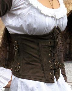 KOSTÜMTRUHE | Verkauf & Versandhandel, mittelalterliche Kleidung, Kostüme & Gewandungen, Zubehör aus Ritterzeit und Piratentum - Unterbrust Corsage Nubukleder