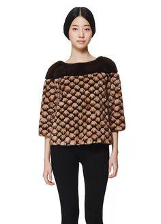 Mink fur zip blouse