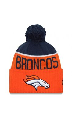 70a0e0bb004 NFL Men s Denver Broncos New Era Orange 2015 On-Field Sport Knit Hat with  Pom