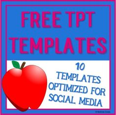10 FREE Templates for Teachers Pay Teachers (TpT) and Social Media, all fully editable in PowerPoint and optimised for pinning and posting on Facebook, Pinterest and Instagram. Links are included for tutorials on how to use them. Created and shared by Whispering Waters. Includes TpT Product, Square Cover, Preview, Quote Box, Banner and Column Box, Facebook Cover Photo and Profile Pic, Facebook Shared Photo and Video or Animation.