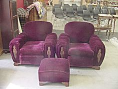 2 1920s Red Mohair Chairs Foot Stool Used Ottoman Footstool Ottomans Vintage Sofa