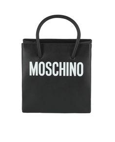 c7825ec657 Moschino Logo Print Leather Tote Bag
