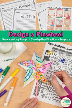 Check out these fun pinwheel art projects. Kids design their own using a fun marker painting technique! Spring Art Projects, Projects For Kids, Crafts For Kids, Diy Crafts, Art Games For Kids, Art Lessons For Kids, Art Sub Plans, Drawing Activities, 6th Grade Art