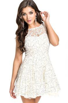 WHITE LACE PRINCESS SKATER DRESS #ustrendy ustrendy.com