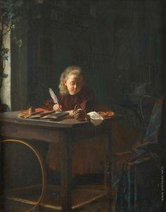 """Девочка за уроком / Lesson for the girl"", 1836. Эмилия Карловна Гаугер / Emilia Karlovna Gauger"