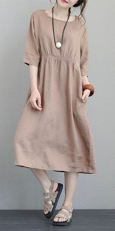 fashion brown natural linen dress Loose fitting O neck elastic waist traveling clothing Fine Half sleeve gownMost of our dresses are made of cotton linen fabric, soft and breathy. loose dresses to make you comfortable all the time. Casual Dresses For Women, Casual Outfits, Fashion Outfits, Womens Fashion, Fashion 101, Baby Boys, Travel Dress, Gowns With Sleeves, Muslim Fashion