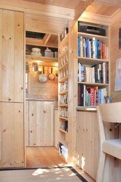 have bathroom whr kitchen is and kitchen shelf door open into bathroom