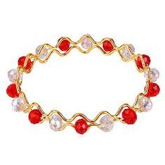 Amazon.com: U7 Jewelry 18K Gold Plated Bangle Women Glass Bead Ruby Crystal Bracelet: U7 Jewelry: Jewelry