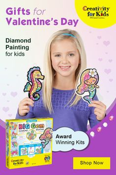 Diamond Painting for Kids - Big Gem Diy Crafts For Girls, Craft Kits For Kids, Fall Crafts For Kids, Gifts For Kids, Valentines For Kids, Valentine Day Gifts, Dream Party, Free Planner, Lol Dolls