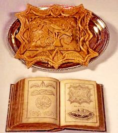 Lamb pasty made from a design in the Edward Kidder book (above), published in 1720 AD, with the book open to the page (below)