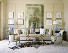 Living room with zebra rug by Jan Showers.