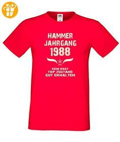 Zum 29. Geburtstag - Fun-T-Shirt Mega Cooles Männer-Oberteil als Geschenk mit Gratis Urkunde Hammer Jahrgang 1988 Farbe: rot Gr: XXL (*Partner-Link)