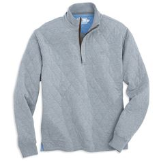 Georgetown Quilted 1/4 Zip Pullover in Steel Grey by Southern Tide  - 1