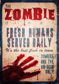 Zombie poster, Retro Zombie Poster, diner, home decor, kitchen poster, gothic…