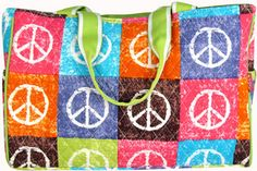 $7.50 SALE! Quilted Peace Out Diaper Bag with Lime Trim