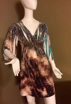 BOSTON PROPER Brown And Green Boho Print, Flare Sleeve, Multi-brown  Dress M  | eBay