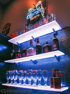 Use our led back bar shelves in your restaurant, bar or lounge to boost the visibility of your highest margin liquor. Our shelves are also eye-catching which makes them great for display products of all sorts! Bar Shelves, Display Shelves, Floating Shelves, Liquor Shelves, Contemporary Shelving, Wall Mounted Bar, Plastic Shelves, Home Bar Designs, Back Bar