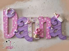 TiaViviDesign Painted Letters, Wood Letters, Decorated Letters, Name Decorations, Nursery Letters, Arts And Crafts, Diy Crafts, Letter A Crafts, Girl Decor