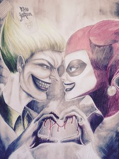 Harley & Joker  Mad Love (Buntstiftzeichnung)