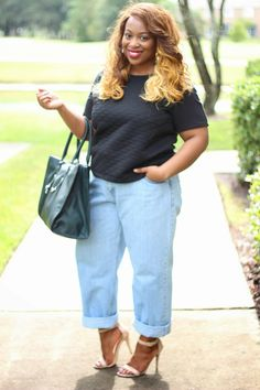 711b902c992 what to wear with plus size boyfriend jeans - Google Search Plus Size  Boyfriend Jeans