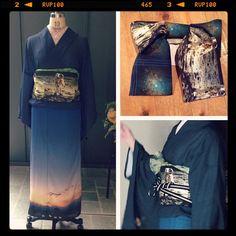 """【Spica】 これが究極のスタイリング。 そらの着物と月面着陸の帯。  #kimono #キモノ #着物 #きもの #yumi_kimono #yamamotoyumi #やまもとゆみ #kawaii #spica #宇宙"""