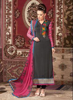 Swanky Faux Crepe Resham Work Churidar Designer Suit