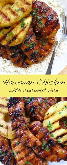 Hawaiian Chicken with Coconut Rice. Great grilling recipe, so much flavor and paired with pineapple and coconut rice. SO GOOD! #grilled #hawaiianchicken #chicken #pineapple #coconutrice #grilling #summer #recipes