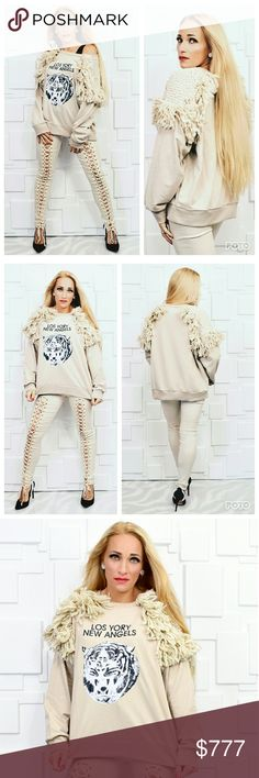 SASSY SWEATSHIRT Brand new  Boutique items Price is Firm  Check out this oh so fun and playful sweatshirt!! I love the lion print and look at those amazing shoulder details!!! This is by far my favorite sweatshirt!! Grab a sassy pair of lace pants,leggings or ripped up jeans! MODA ME COUTURE Tops Sweatshirts & Hoodies
