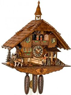 28.5in Moving Saw-Mill German Black Forest Cuckoo Clock 8 Day Musical  - NYC1041