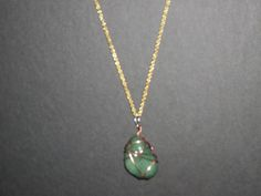 copper wrapped jade necklace