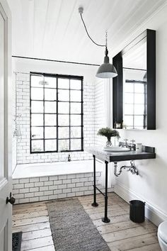 120 best modern farmhouse bathroom design ideas and remodel to inspire your bathroom Tiny Bathrooms, Beautiful Bathrooms, White Bathrooms, Bathroom Black, Farmhouse Bathrooms, 1950s Bathroom, Simple Bathroom, Vanity Bathroom, Budget Bathroom