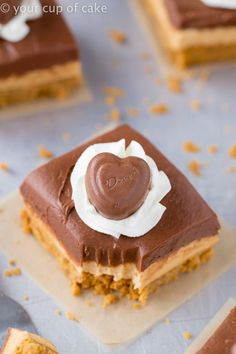 Chocolate Peanut Butter No-Bake Cheesecake Bars for Valentines Day an every day! Favorite No- Bake recipe