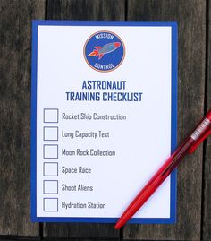 Astronaut Training Party Activity Checklist