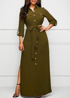 Side Slit Army Green Long Shirt Dress