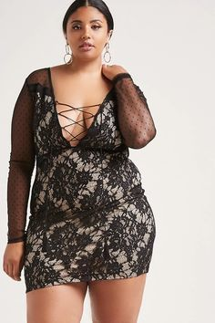 Forever 21+ - A lace knit bodycon dress featuring a plunging neckline with a tasseled lace-up design, sheer swiss-dot yoke and long sleeves, and an exposed back zipper.<p>- This is an independent brand and not a Forever 21 branded item.</p>