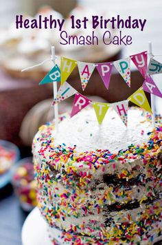 Healthy First Birthday Smash Cake - Chocolate Vegan Cake with Vanilla Frosting. Moist, delicious, chocolatey cake with a whipped, fluffy frosting. All ingredients are clean, and this cake is the perfect amount of sweet. yum!