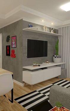 Parede cinza o rack para sala pequena branco de pés palitos Apartment Living Room Design, Affordable Apartments, Apartment Decor, Home, Small Living Rooms, Apartment Living Room, Affordable Living Rooms, Sala, Home Decor