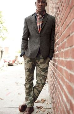 Shop this look on Lookastic: http://lookastic.com/men/looks/scarf-blazer-denim-shirt-chinos-boots/4278 — Red Plaid Cotton Scarf — Charcoal Wool Blazer — Navy Denim Shirt — Olive Camouflage Chinos — Burgundy Leather Boots