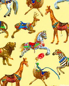 Painted Menagerie (buttercream) by Classic Cottons (Carousel collection).