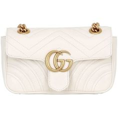 Gucci Women Mini Gg Marmont 2.0 Leather Shoulder Bag (€1.265) ❤ liked on Polyvore featuring bags, handbags, shoulder bags, white, white shoulder bag, mini purse, gucci handbags, shoulder strap bags and mini handbags