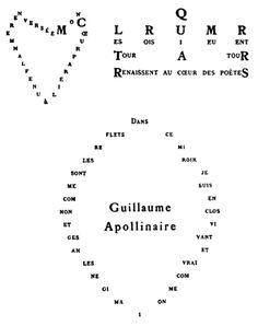 Guillaume Apollinaire - Calligramme - Cœur, couronne et miroir